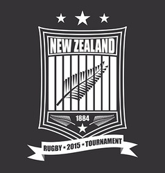Rugby tournament emblem in the New Zealand sport vector image