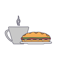 Sandwich and coffee cup vector