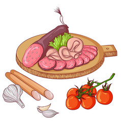 Sausages on white background vector