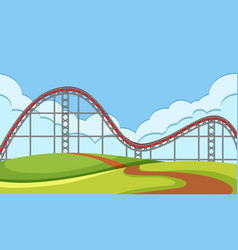 Scene with circus ride in park vector