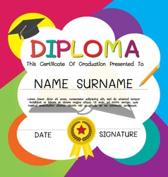 School and kid diploma certificate design template vector