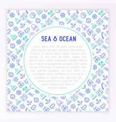Sea and ocean journey concept with thin line icons vector