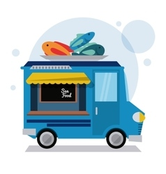 Sea food truck fast food icon graphic vector