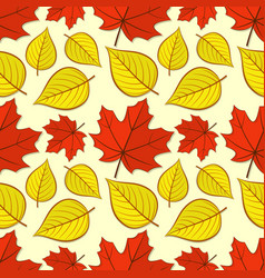 Seamless pattern with maple and linden leaves vector