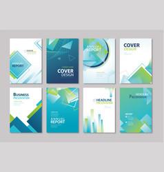 Set blue cover annual report brochure design vector