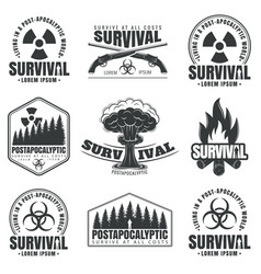 set icons on theme survival vector image