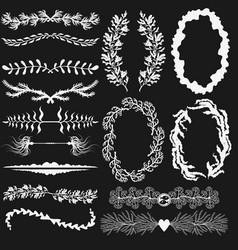 set of black and white decorations vector image