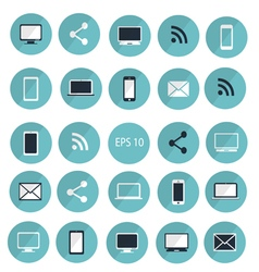 Set of digital devices icons blue vector