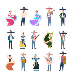 Set of mexican people in traditional costumes vector
