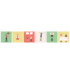 set people characters standing with heart image vector image