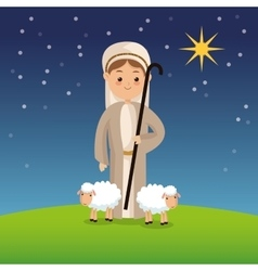 Shepherd icon Merry Christmas design vector
