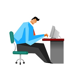Side view of man sitting by computer vector image