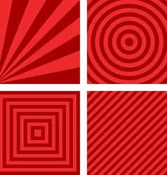 Simple red striped pattern background set vector image
