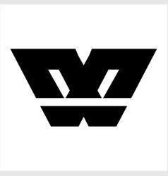 simple w wx geometric initials logo vector image
