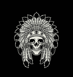 skull native american indian wearing headdress vector image