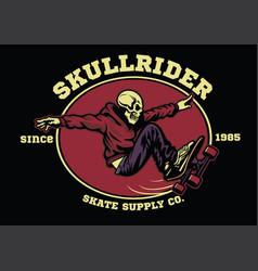 Skull skateboarder badge vector