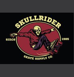 Skull skateboarder badge vector