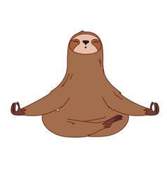 Sloth in meditation pose vector