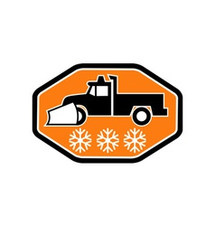 Snow plow truck with snowflake vector image