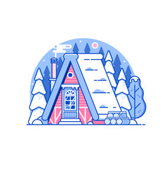 snowy winter log house in forest vector image