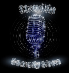 Stand up comedy show sign polygonal art vector