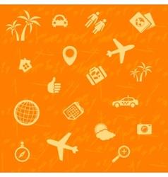 travel background orange Seamless pattern vector image