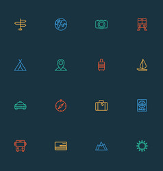 Traveling icons line style set with hill tram vector