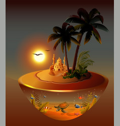 tropical night island palm trees sea sand castle vector image
