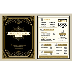vintage restaurant or cafe menu cover design vector image
