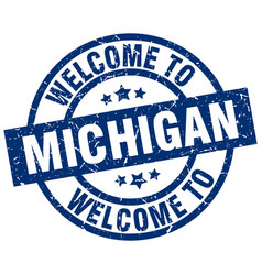 Welcome to michigan blue stamp vector