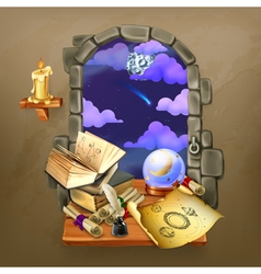 window in castle magic and astrology vector image