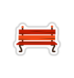 Wooden bench in paper sticker style park vector