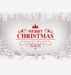 xmas greeting with white snowing landscape vector image