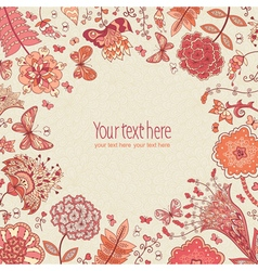 background with hand-drawn flowers and butterflies vector image