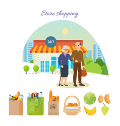 couple after shopping at the mall on city street vector image vector image
