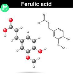 Ferulic acid chemical molecule vector image