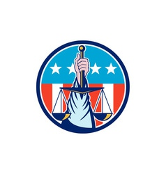 Hand Holding Scales of Justice Circle Retro vector image