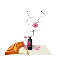 Ikebana composition figure sakura flower fan vector