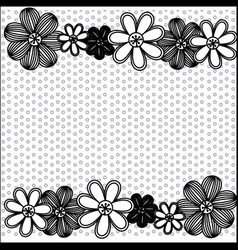 monochrome pattern dotted with row flowers vector image