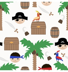Seamless pirate colorful kids retro pattern vector