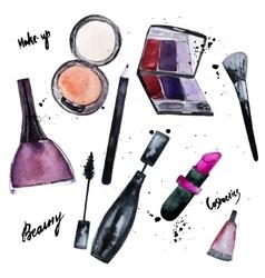 watercolor set of Glamorous make up set of vector image vector image