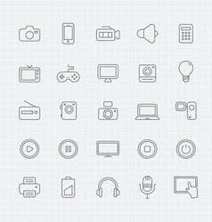 device and multimedia thin line symbol icon vector image vector image
