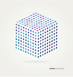 Three-dimensional cube of colored dots vector image vector image