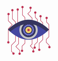artificial intelligence eye with connection points vector image
