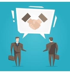 Businessmen with handshake speech cloud vector image