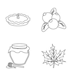 Cranberry pumpkin pie honey pot maple leaf vector