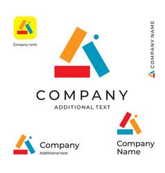 multicolored triangle abstract logo bright vector image
