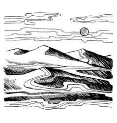 sand dunes sketch vector image vector image