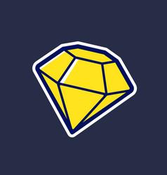 yellow diamond icon in cartoon style vector image