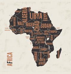 Africa vintage detailed map print poster design vector